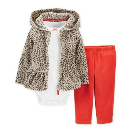 - Carters Infant Girls 3 Piece Set Fleece Leopard Print Hoodie Leggings Shirt