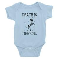Death is Megical Unicorn Skeleton Funny Halloween Baby Bodysuit Gift Sky Blue