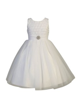 2ec69a0bdf2 Sold   shipped by Sophias Style Boutique Inc. Product Image Little Girls  White Organza Floral Pearl Tulle Flower Girl Dress 2T-6