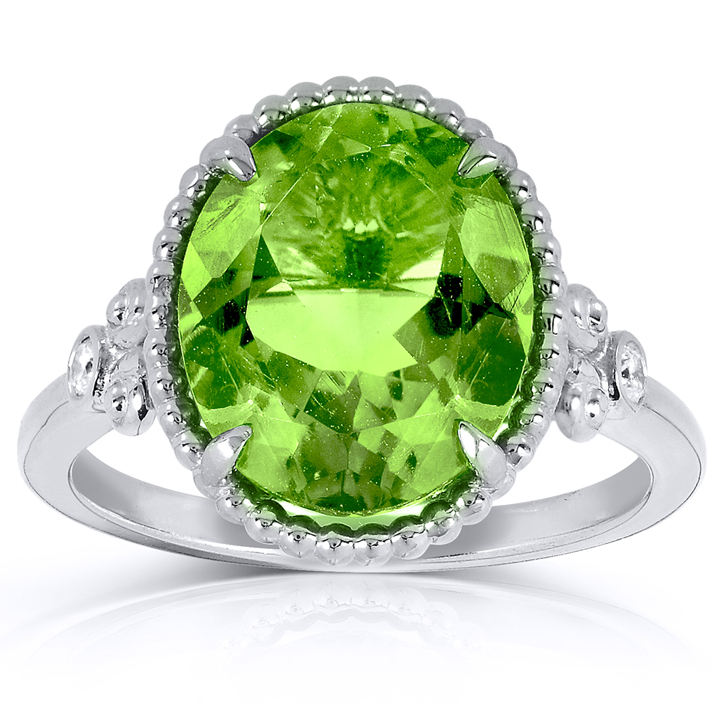 Oval Peridot and Diamond Ring 4 4 5 Carat (ctw) in Silver with 14k White Gold Plated Silver by