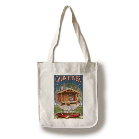 Torch Lake  Michigan   Cabin In Woods   Lantern Press Artwork  100  Cotton Tote Bag   Reusable