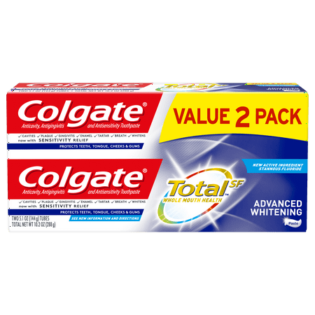 Colgate Total Whitening Toothpaste, Advanced Whitening, 5.1 oz. 2-pack-