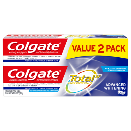 Colgate Total Whitening Toothpaste, Advanced Whitening, 5.1 ounce (2 Pack)
