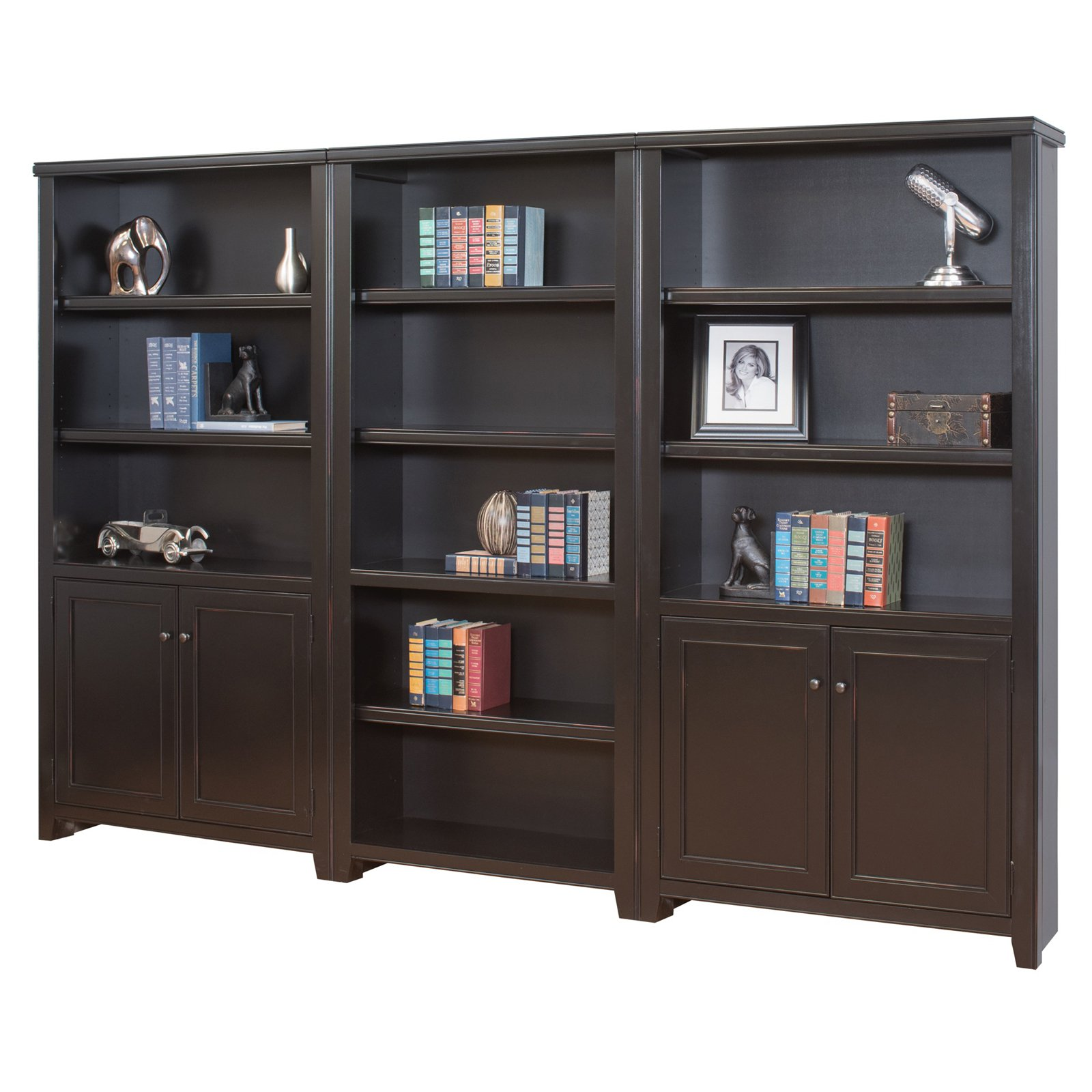 Martin Furniture Tribeca Loft Wood Wall Bookcase with 2 Doors - Black