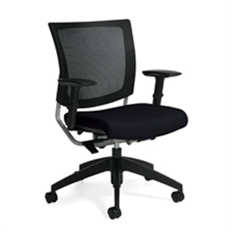 Global Graphic Medium Posture Back Office Chair in Coal