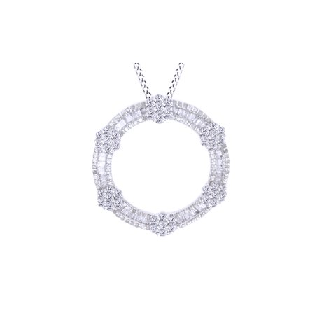 White Natural Diamond Circle Pendant Necklace In 10K Solid Gold (1.75 Carat)