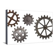 Rusty Metal Gears Set Isolated On White Stretched Canvas Print Wall Art By Andrey_Kuzmin