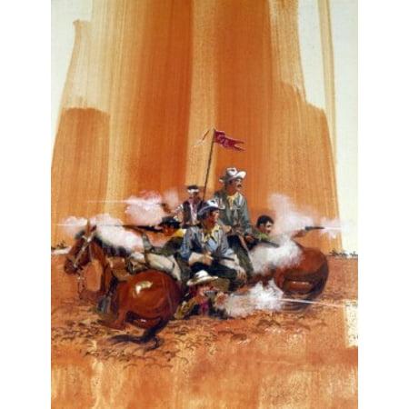 Group Of Cowboys Shooting Guns By Horses Poster Print