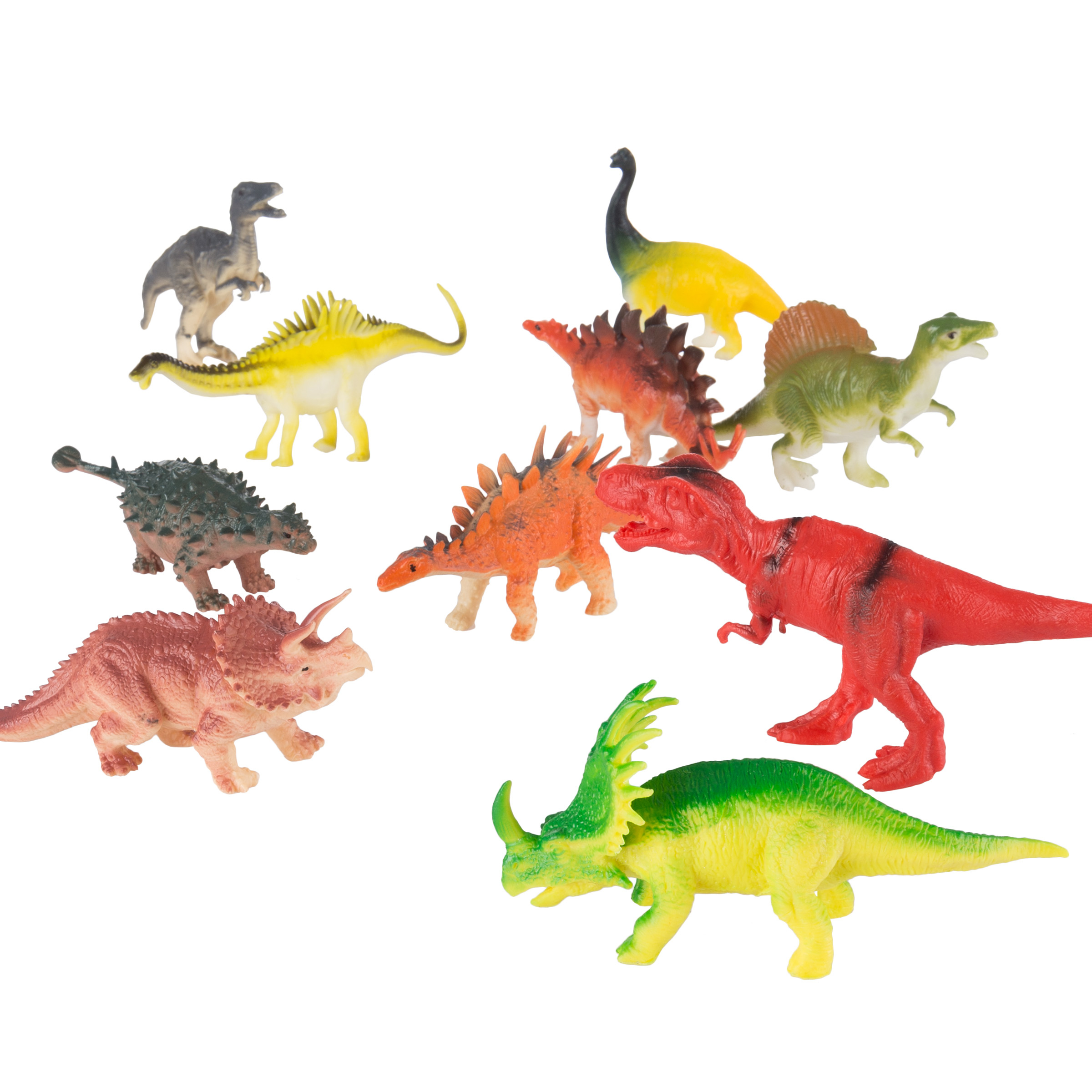 10 Pack Dinosaur Action Figures Colorful T Rex Kids Toys Old School Child Fun