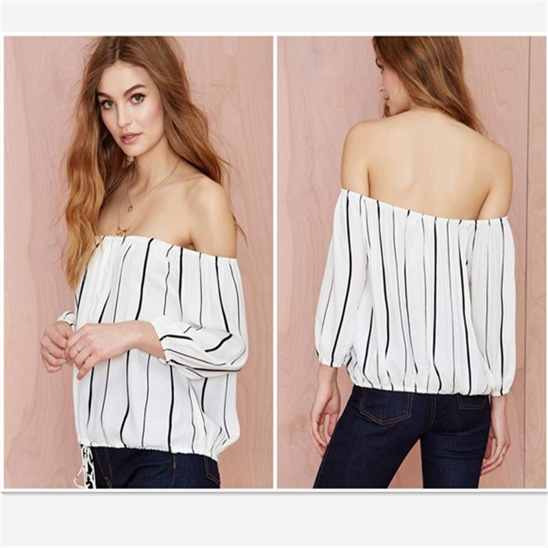 Women Sexy Off Shoulder Long Sleeve Casual Blouse Tops Tee Stripe White