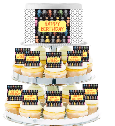 Robot  Edible Photo Toppers  & Edible Cupcake Decoration Kit