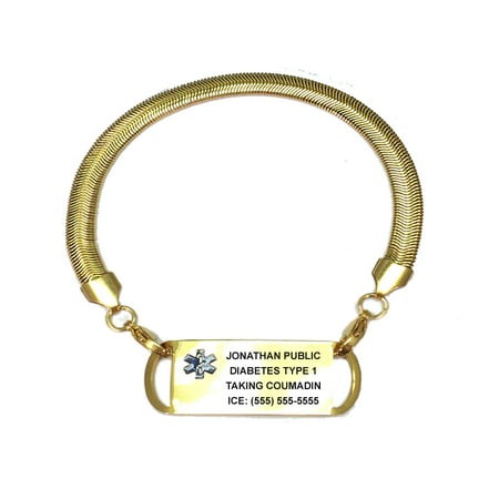 Ladies Chevron Gold Plated Stainless Medical Alert ID Bracelet with Engraving Plate. Custom Engraved!
