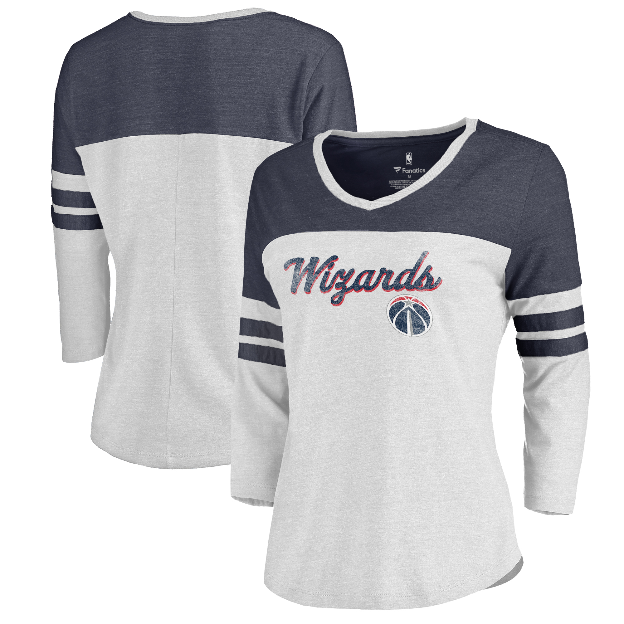 Washington Wizards Fanatics Branded Women's Rising Script Plus Size Color Block 3/4 Sleeve Tri-Blend T-Shirt - White