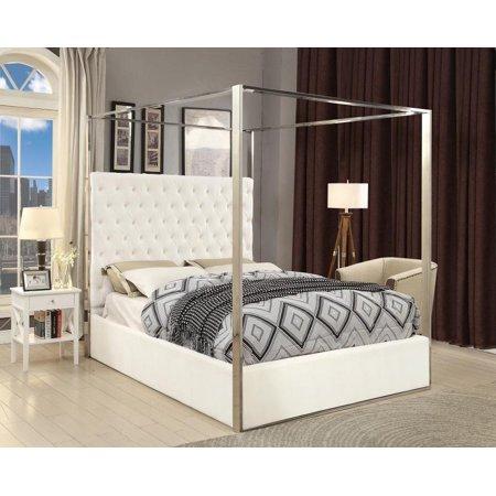 Meridian Furniture Porter White Velvet Canopy Bed Queen Size