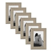 DesignOvation Kieva Solid Wood Picture Frame, Distressed Gray 4x6, Pack of 6