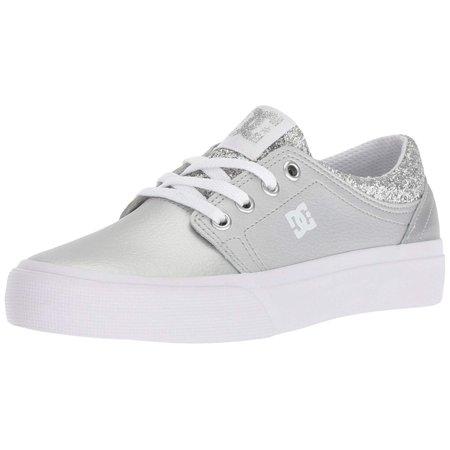 Dc Kids Shoes (DC Girls' Trase SE Skate Shoe, Black/Silver, 1.5 M US Little Kid )