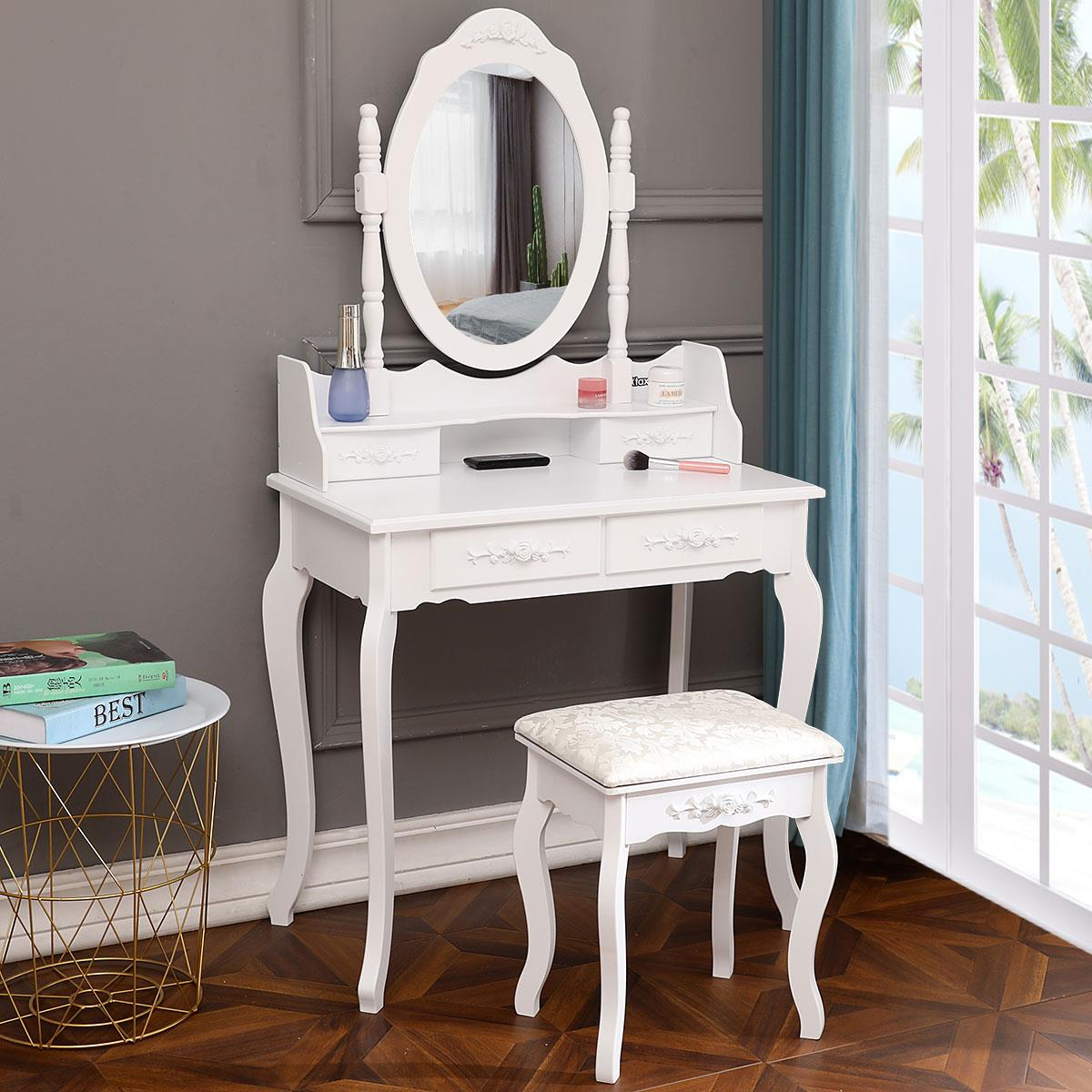 Ktaxon Elegance White Dressing Table Vanity Table And Stool Set Wood Makeup Desk With 4 Drawers Mirror Walmart Com Walmart Com