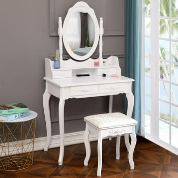 Ktaxon Elegance Vanity Table and Stool Set