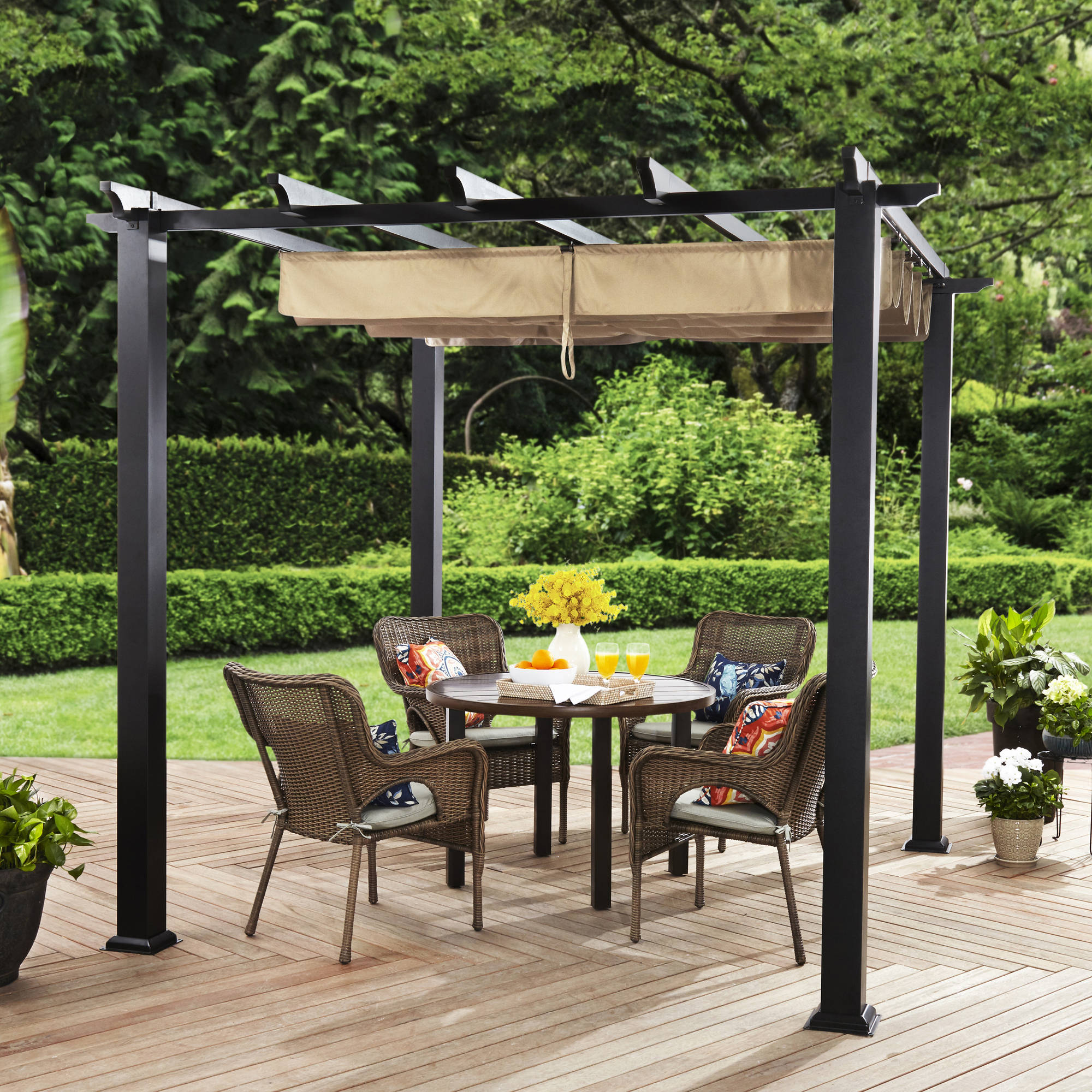 Better Homes u0026 Gardens Meritmoor Aluminum/Steel Pergola with Single-Finish 9u0027 x 9u0027 Black - Walmart.com : pergola on patio - thejasonspencertrust.org