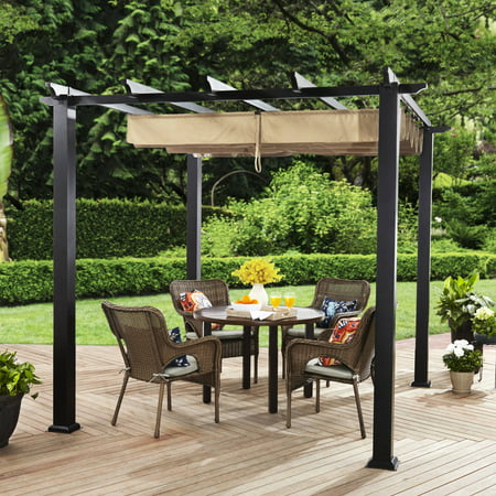 Better Homes & Gardens Meritmoor 9' x 9' Steel Pergola, Black ()