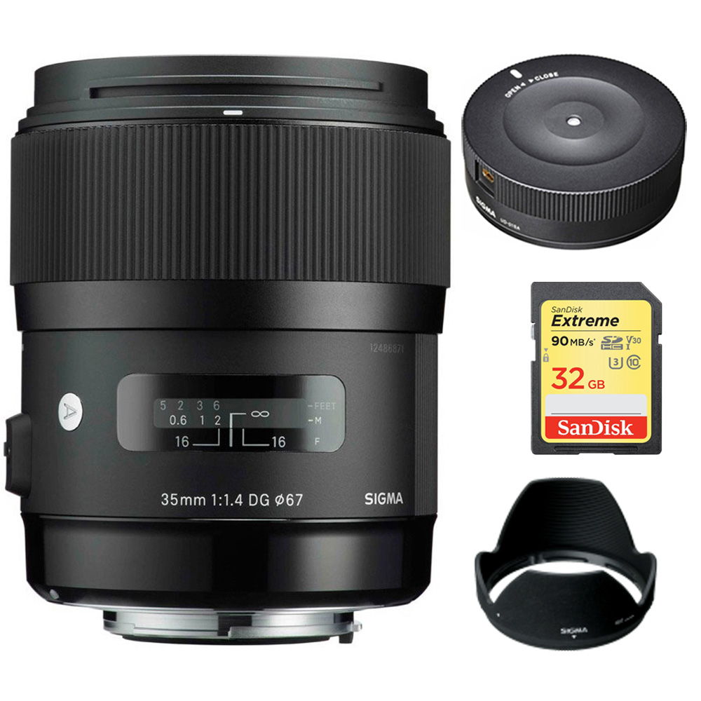 Sigma Art Wide-angle lens -AF 35mm F1.4 DG DG HSM Lens for Nikon (340306) with Sigma USB Dock for Nikon Lens & Lexar... by Sigma