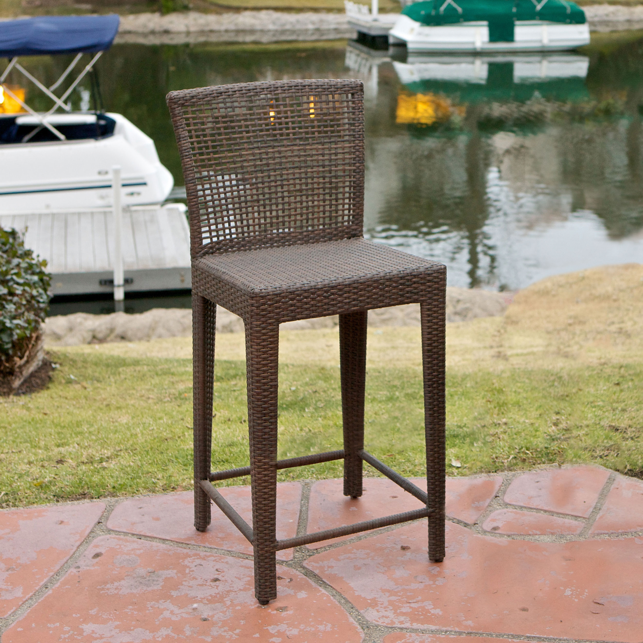 Brown Wicker Bar Stool