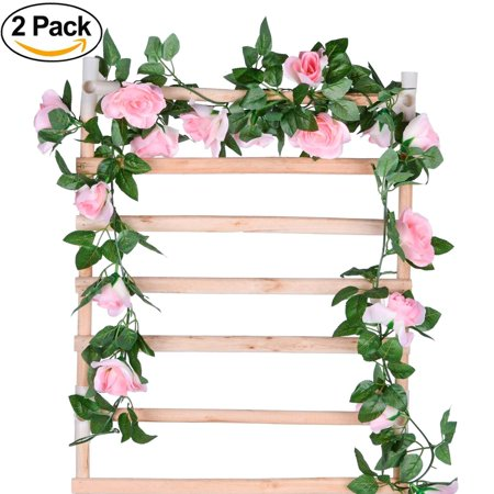 Coolmade 2Pack 8FT Artificial Fake Rose Vine Garland Artificial Flowers Plants with 16 Rose Flowers for Hotel Wedding Home Party Garden Craft Art Decor (Pink, 2 Pack) (Red Wooden Roses)