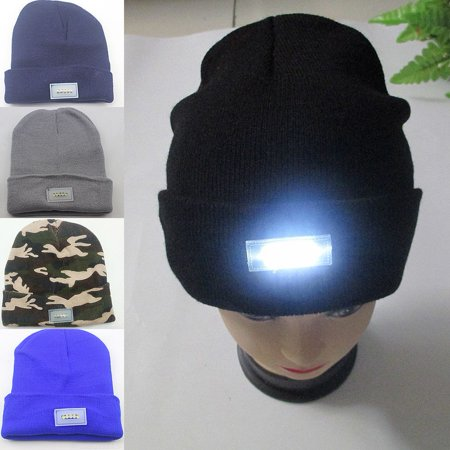 Running Winter Hat (Unisex 5 LED lighted Cap Hat Winter Warm Beanie Angling Hunting Camping Running 5-color)
