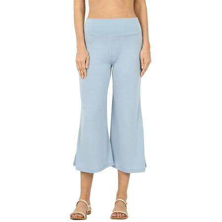 Womens Knit Capri Culottes Gaucho Wide Leg Pants
