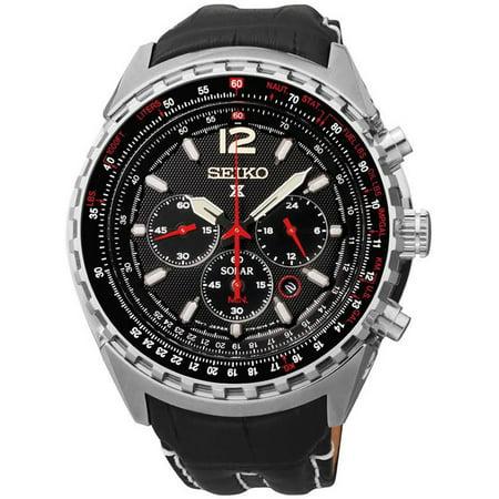 8ff41112b Seiko - Mens Solar Prospex Stainless Steel Case Leather Black Dial Silver  Watch - SSC289 - Walmart.com