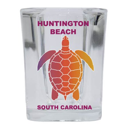 HUNTINGTON BEACH Square Shot Glass Rainbow Turtle Design
