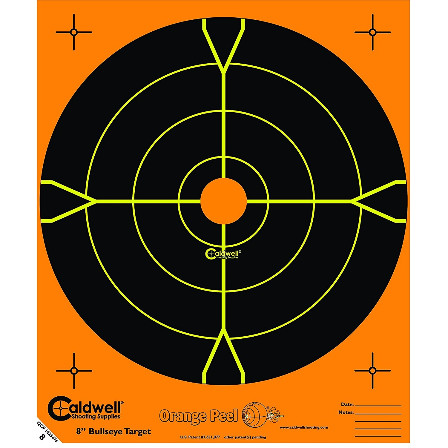 "Caldwell Orange Peel 8"" Bulls-Eye, 25 Sheets"