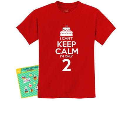 Birthday Cake - I Can't Keep Calm I'm Two Children Cute Youth Kids T-Shirt Small Red