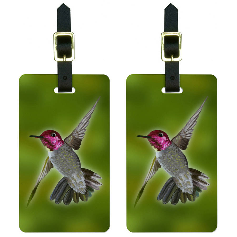 Hummingbird Bird Luggage Tags Suitcase Carry-On ID, Set of 2