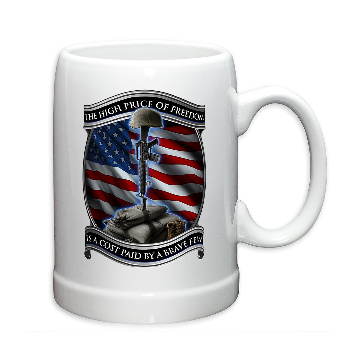 Erazor Bits Soldiers Cross Price of Freedom 20oz Stoneware Coffee, Beverage Mug