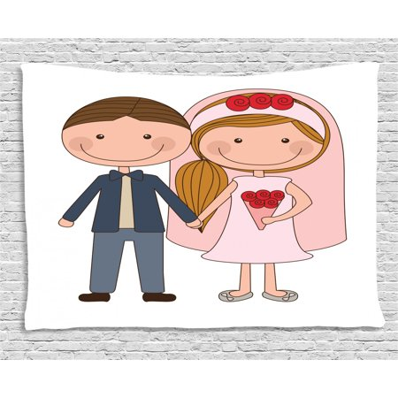 Engagement Party Tapestry, Cartoon Illustration of Newlywed Groom and Blonde Bride with Side Ponytail, Wall Hanging for Bedroom Living Room Dorm Decor, 80W X 60L Inches, Multicolor, by -