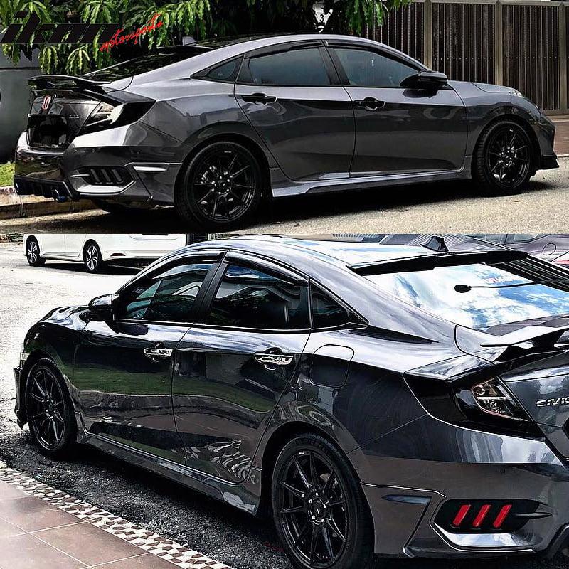 Fits 16-18 Civic Sedan 4-Door HF-P Style Side Skirts Pair Black PP
