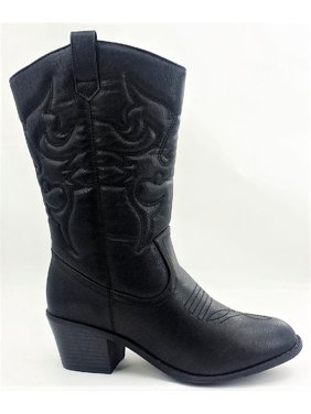 2c103c816 Product Image BDW-14W Western Cowboy Cowgirl Mid Calf Pointed Toe Stitched  Boots Black