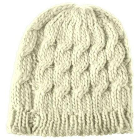 Crochet Winter Beanie - Beanie Hat for Women by Zodaca Winter Warm Crochet Hat Braided Cap - Beige