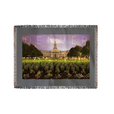 City Hall Denver Halloween (Denver, Colorado - City Hall - Lantern Press Photography (60x80 Woven Chenille Yarn)