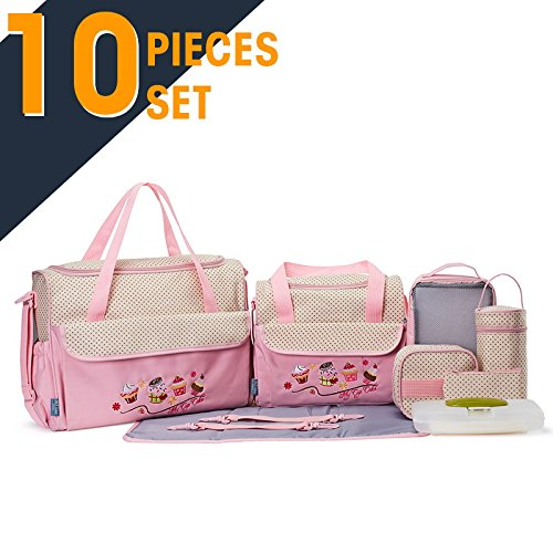 SOHO Collections, 10 Pieces Diaper Bag SetLimited time offer (Pink color with Icecream Cupcake)