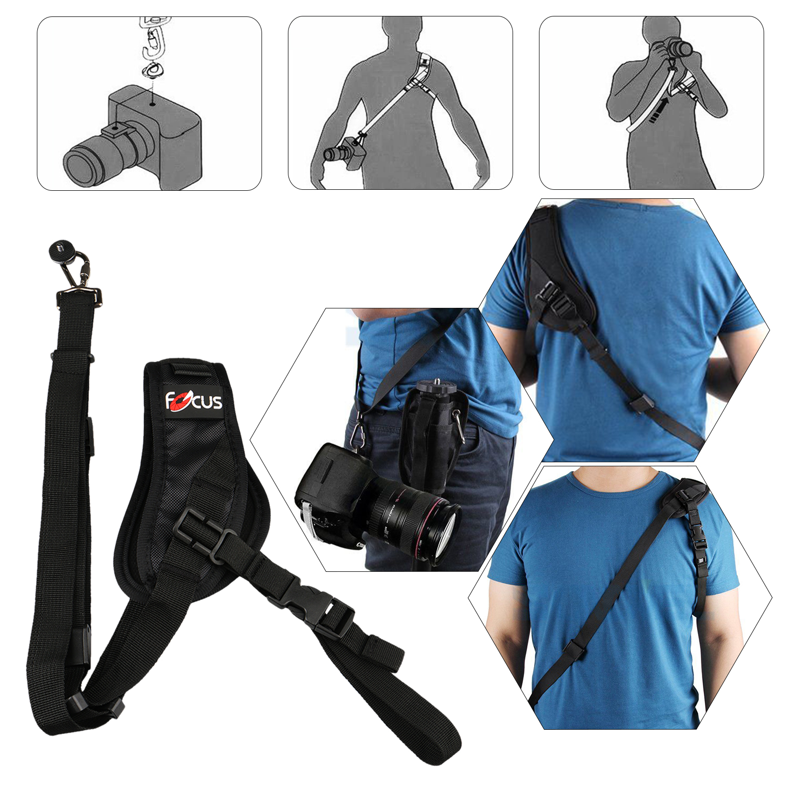 Camera Shoulder Neck Strap, Quick Rapid Shoulder Sling Belt Neck Strap Professional Single Shoulder Camera strap camcorder for DSLR SLR Canon Nikon Sony Panasonic