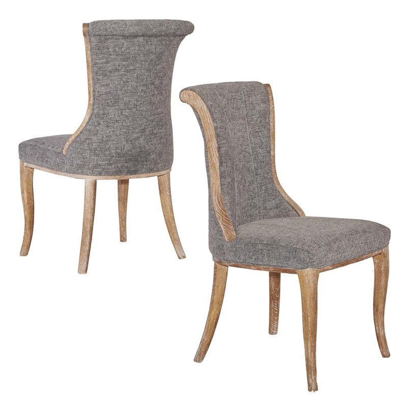 Riverbay Furniture Flared Back Dining Side Chair in Charcoal (Set of 2)