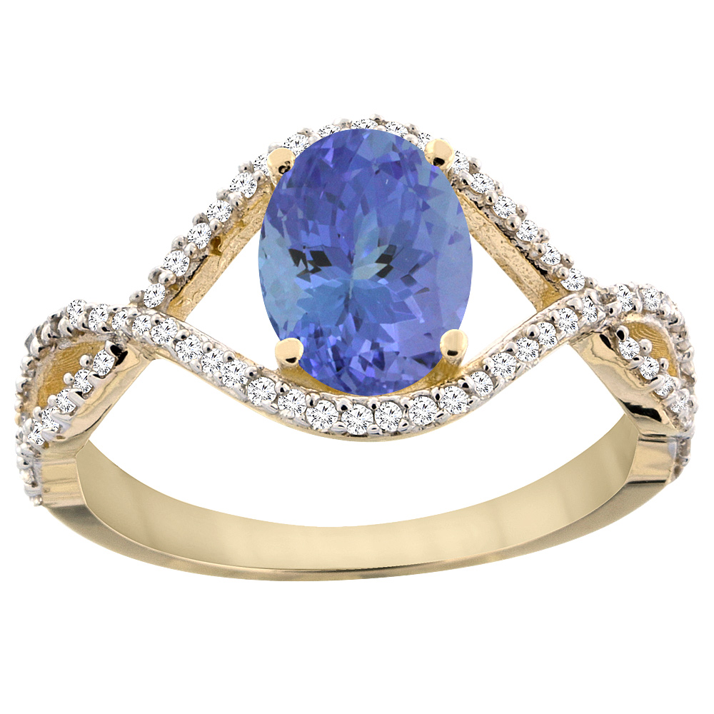14K Yellow Gold Natural Tanzanite Ring Oval 8x6 mm Infini...