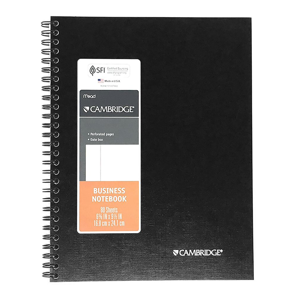 "Cambridge Business Notebook, 6-5/8"" x 9-1/2"", 80 Sheet, Black"