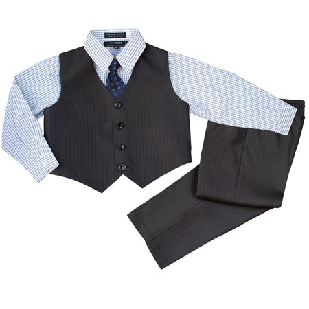 Boys Formal Suit Set - Vest Shirt Pants and Matching Tie Dress Wear Outfit By - Fun Bow Ties