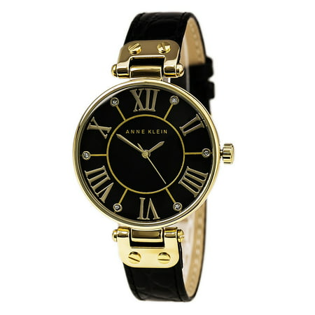 Anne Klein 1396BMBK Women's Dress Black Mother of Pearl Dial Black Leather Strap (Black Leather Dress Watch)
