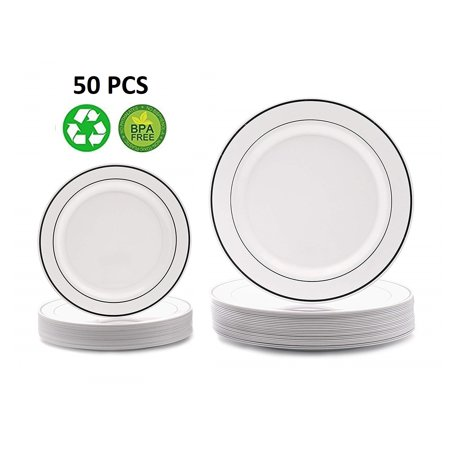 Disposable Plastic Plates Silver White Wedding Occasion Party Dinnerware 50 PCS](Occasion Supplies)