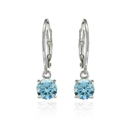Sterling Silver Light Blue 6mm Round Dangle Leverback Earrings Made with Swarovski Crystals