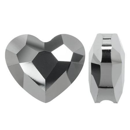 Swarovski Crystal, #5741 Love Heart Bead 8mm, 2 Pieces, Crystal Silver Night 2X
